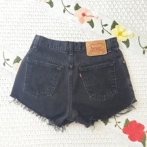 LEVI'S Vintage Black High Rise Distressed Shorts 9